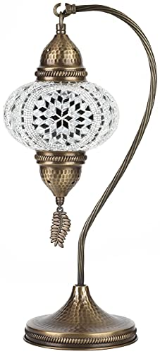 Demmex 2019 Tiffany - Lámpara de noche con cuello de cisne marroquí turco para uso en Estados Unidos, color blanco y gris claro