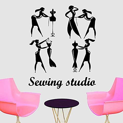 Lamubh Tienda de Costura Pegatinas de Pared para habitación de niñas decoración del hogar Estilo de Dibujos Animados Vinilo Autoadhesivo calcomanía de Pared decoración 103x84 cm