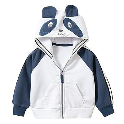 LeeXiang Toddler Boys Full Zip Dinosaur Hoodies Comfortable Sweatshirt (White Panda, 2-3T) from