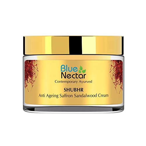 Blue Nectar Anti Ageing Day and Night Brightening Face Cream for Wrinkles with Pure Saffron Sandalwood (No Parabens or Mineral Oil) (50GM)