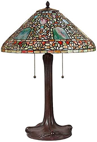 CXSMKP Lámpara de Mesa Estilo Tiffany, Hecha a Mano, vidriera, para Dormitorio, cabecero, decoración de Lectura, Accesorios de iluminación para Sala de Estar