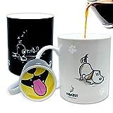 InGwest. Divertida taza de café con perro y lengua en la parte inferior. Taza sensible al calor, taza cambiante de color.