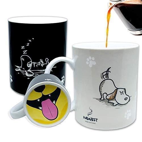 InGwest. Divertida taza de café con perro y lengua en la parte inferior. Taza sensible al calor. Taza que cambia de color.