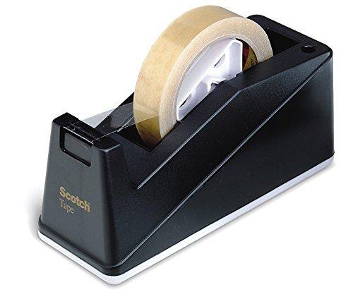 3M Scotch 59555 Dispenser Ricaricabile per Nastro Adesivo da 19 mm x 33 m, Porta Scotch Grande per Ufficio, Bianco e Nero