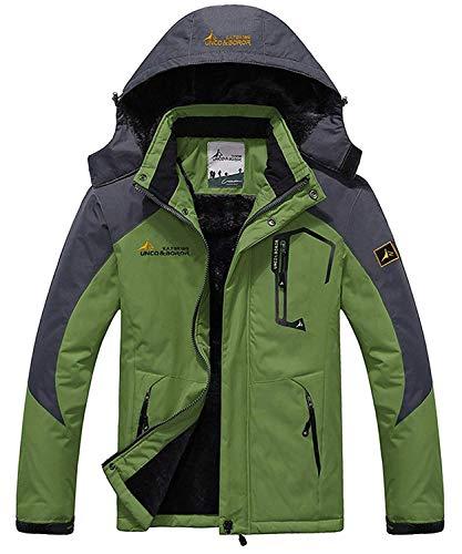 Memoryee Chaqueta Impermeable para Hombres Chaqueta Polar de Invierno Cálida Chaqueta de esquí A Prueba de Viento Bolsillos múltiples/Verde/2XL-Hombre