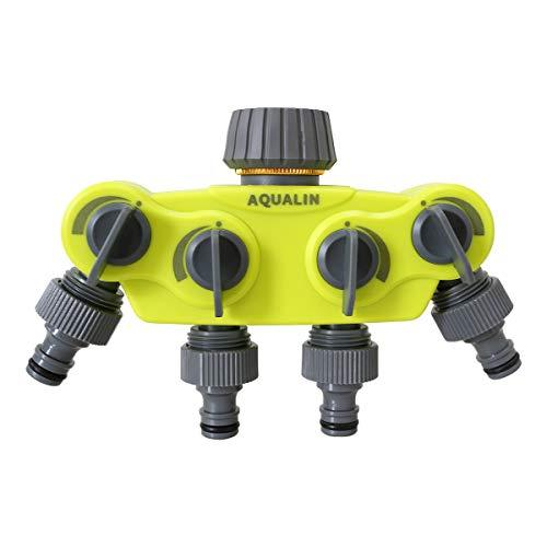 Aqualin 4-Wege Wasserverteiler Schlauch Verteiler Geeignet Für Wasserhahn Wasserschlauch Gartenschlauch Schlauchverteiler Für Garten Hof