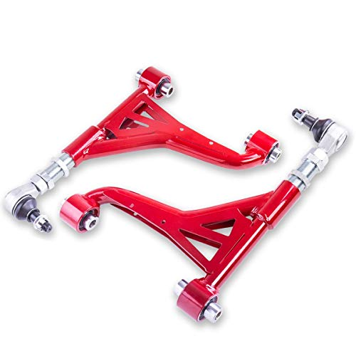 Fit 1998-2005 Lexus GS300 GS400 GS430 (RWD Only)/ 2001-2005 Lexus IS300 (RWD Only) 2 Piece Pillowball Rear Upper Camber Kit Red