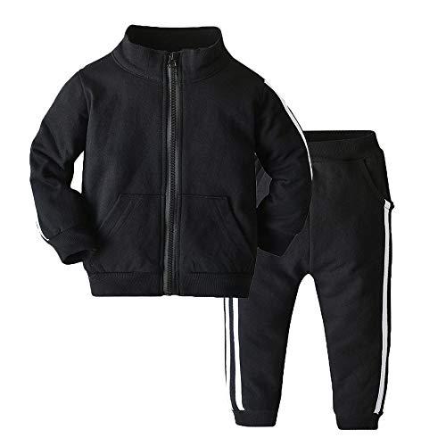 Moyikiss Studio Chándal unisex para bebé, niños, ropa de algodón, manga larga, con cremallera, chaqueta y pantalones, Negro, 12-18 Meses