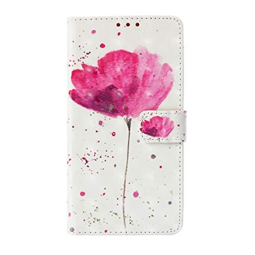 Shukukan voor Samsung S10 Wallet Case, 3D PU lederen Flip Cover Cases met polsband Leuke Stickers Kaarthouders Volledige bescherming voor Samsung Galaxy S10 Flower