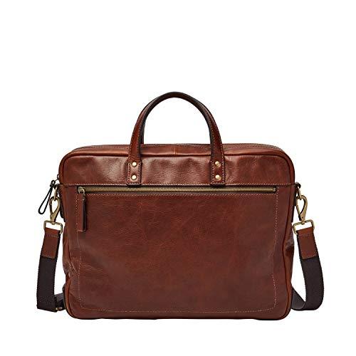 Fossil Men's Haskel Leather Double Zip Briefcase Messenger Laptop Bag, Cognac