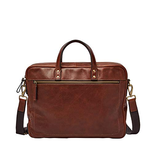 Fossil Men's Haskell Double Zip Leather Workbag Briefcase, Haskell Double Zip Leather Brief - Cognac, One Size US