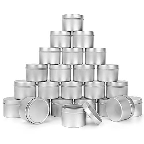 BELLE VOUS Metalldosen mit Deckel für die Kerzenherstellung (24er Set) 120 ml Wiederverwendbare Runde Kerzengläser mit Deckel zum Basteln, Reisen & Camping, Metall Seifendose, Kosmetikdose mit Deckel