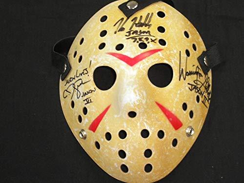 KANE HODDER CJ GRAHAM WARRINGTON GILLETTE 3X Signed Hockey MASK Jason Voorhees Friday the 13th JSA COA
