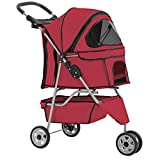 Dog Stroller Pet Stroller Cat Stroller for Medium Small Dogs Foldable Travel 3 Wheels Waterproof Puppy Stroller,Red