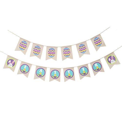 SunflowerU Lindo banderines para decoración del hogar, celebración, fiesta de Pascua, diseño de huevos