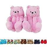 teddy bear slippers - LELEBEAR Teddy Bear Slippers, Women Plush Cute Animal Slippers Home Indoor Anti-Slip Faux Fur Soft Warm Winter Shoes (Pink)