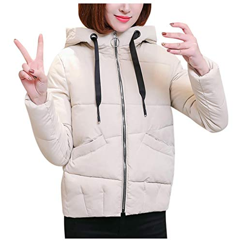QIQIU Womens Warm Katoen Hooded Winter Mode Lang-Sleeved Trekkoord Effen Casual Losse Jas Bovenkleding