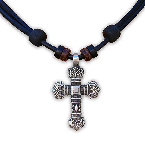 HANA LIMA ® Lederkette Halskette Kreuzanhänger Kette Kreuz Kreuzschmuck Kruzifix Jesus