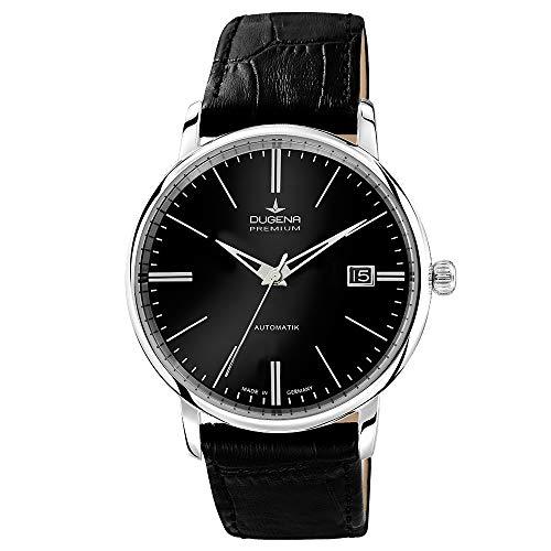 Dugena Herren Automatik-Armbanduhr, Saphirglas, Uhrwerk mit 24 Steinen, Festa Klassik, Schwarz, 7000192