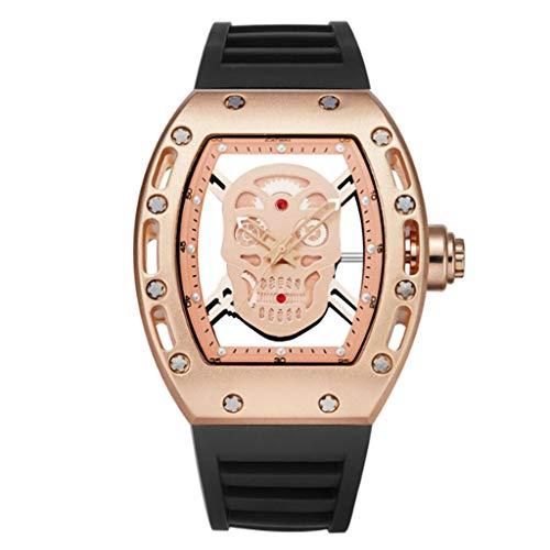Gnaixyc Reloj analógico clásico de cuarzo para hombre con correa de silicona, reloj de pulsera minimalista con esfera de calavera, A, L