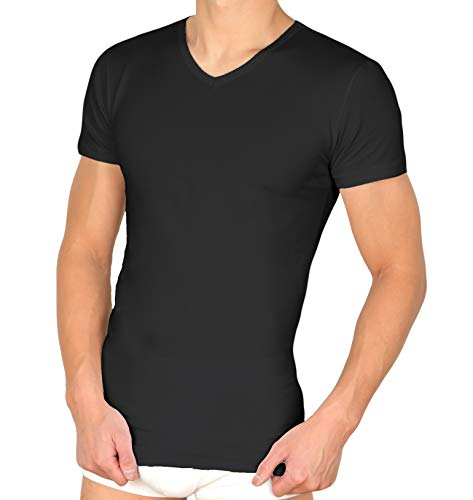 (3-delig | 4-pak) onderhemd heren T-shirt met V-hals - business ondershirt met stretch door 95/5 katoen/elastaan in wit, grijs & zwart (S-XXL)