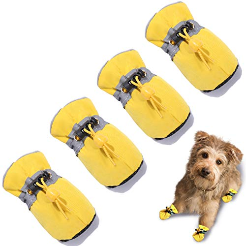 "TEOZZO Dog Boots Paw Protector, Anti-Slip Winter Dog Shoes with Reflective Straps for Small Medium Large Dogs 4PCS(Size 4: 1.96""x1.57"")"