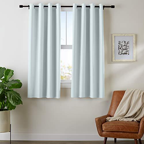 AmazonBasics Room Darkening Blackout Window Curtains with Grommets  - 42' x 63', Light Grey, 2 Panels