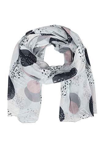 Zwillingsherz Seiden-Tuch im stilvollen Design - Hochwertiger Schal für Damen Mädchen - Halstuch - Umschlagstuch – Pashmina - Loop - weicher Schlauchschal für Frühjahr Sommer Herbst Winter - weiß