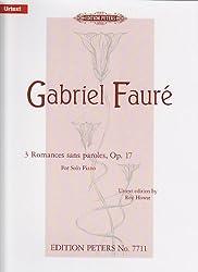 EDITION PETERS FAURE G. - ROMANCES SANS PAROLES -PIANO Partition classique Piano - instrument à clavier Piano