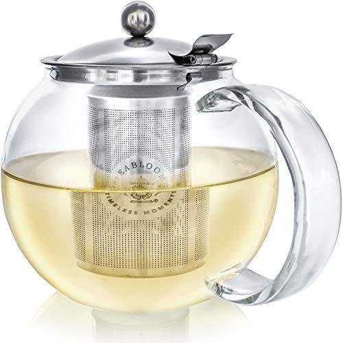 Teabloom Tetera Clasica De Uso Diario Tetera de Cristal Apta para Fogones - 1200 ml de Capacidad - Infusor Extraible de Acero Inoxidable