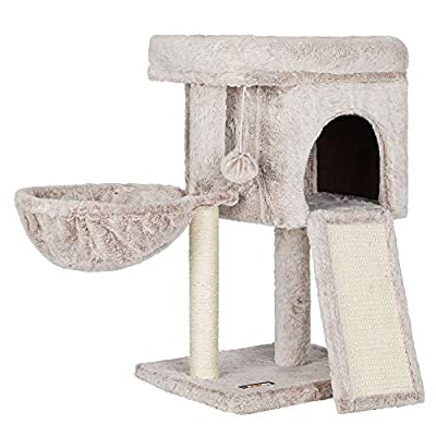FEANDREA Cat Tree, Cat Condo for Kitten, Padded Perch, Cat Activity Center with Large Scratching Board, Cat Cave, Light Brown UPCT120M01