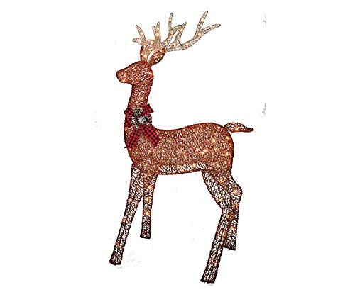 5 foot gold champagne reindeer display outdoor christmas yard lawn decoration - Christmas Deer Yard Decorations