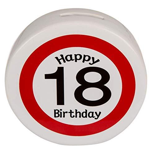 KMC Austria Design Spardose Sparer zum 18. Geburtstag - Keramik rund - ca. 13,5cm x 4cm - Happy Birthday 18