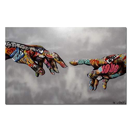 MINRAN DECOR Imprimir Pintura Arte Callejero Arte Urbano en Lienzo Pared de la Mano Imágenes Graffiti Pop Art Poster para la Sala de Estar Dormitorio Decoración para el hogar,60cm*90cm