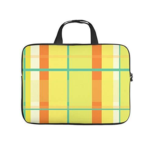 Yellow Tartan Geometry 3D Print Laptop Bag Protective Case Slim Neoprene Laptop Sleeve Bag Cute Notebook Bag for Boyfriend Girlfriend