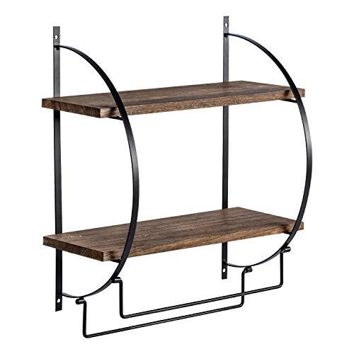 2 Tier Bathroom Storage Shelf with Towel Bars Wall Mounted Wood Floating Shelf with Towel Rods for Bathroom and Kitchen 134 L x 55 W x 15 H