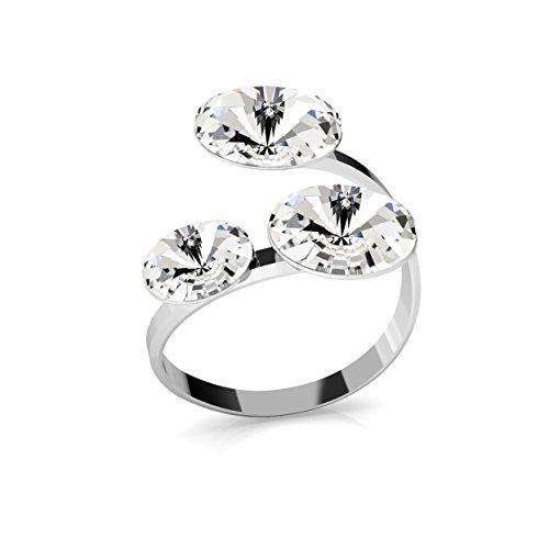 Crystals & Stones Ring *RIVOLI* Dreifach Kristall *Viele Farben* - 925 Silber Ring - Sterling Silber Damen Ring Größe verstellbar PIN/75 (Crystal)