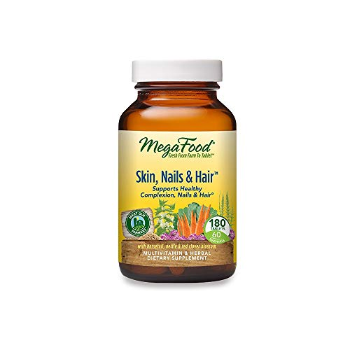 MegaFood, Skin, Nails & Hair, Supports Healthy Complexion, Nails & Hair, Multivitamin & Herbal Dietary Supplement, Gluten Free, Vegan, 180 Tablets