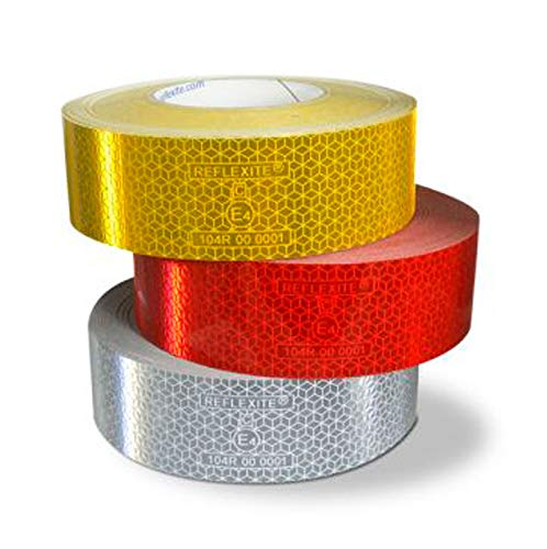 UvV Orafol 1 x Filzrakel + 3 x 1 Meter Reflexite Konturmarkierungsfolie silber-weiß, gelb und rot