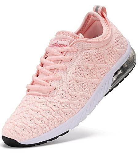 LARNMERN Sneakers Mujer Colchón Aire Zapatos Transpirables Deportivas Calzado(Rosa 38)
