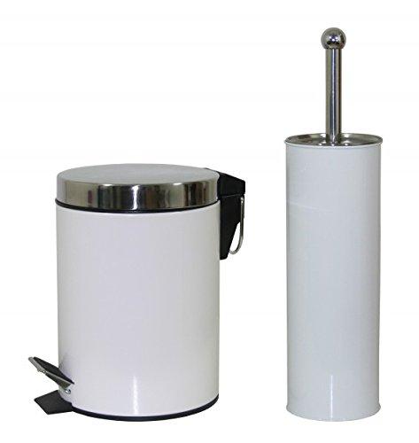 Quantio 2-TLG. Bad-Set - weiß - WC-Bürste & Abfalleimer 3 Liter - Toilettenbürste - Bürstengarnitur - Toilettengarnitur - Kosmetikeimer - Badeimer - Treteimer