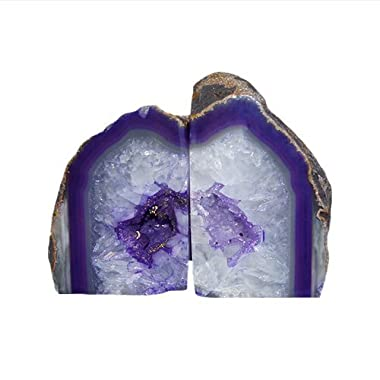 JIC Gem Polished Dyed Purple Agate Bookend(s) - 1 Pair - 3 to 4 Lbs