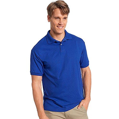 Hanes Mens Comfortblend EcoSmart Jersey Knit Sport Shirt, Large, Deep Royal