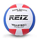 DF-FR Soft Touch PU Leather 5# Volleyball Ball Outdoor Indoor Training Competition Standard Volleyball Ball For Students (color: white & red & blue)