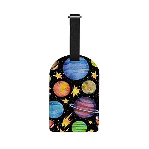 Orediy - Etichette da viaggio per bagagli, con nome e carta d'identità, motivo: pianeti, razzi e valigie, in pelle PU, 1 pezzo