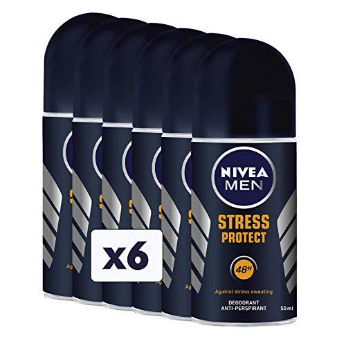 Nivea Stress Protect Men Desodorante roll-on, 6 envases de 50 ml