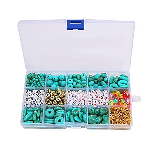 Cuentas de letras del alfabeto de acrílico de 15 cuadrículas, turquesa imitada, accesorios de paquete de alambre para pulsera de bricolaje, pendiente