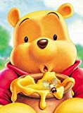 5D Diamond Painting Full Drill, 16'X12' Winnie Ther Pooh DIY Diamond Painting by Number Kits, Pooh Bear Rhinestone Crystal Drawing Gift for Adults Kids, 40x30cm Mosaic Making Art Painting
