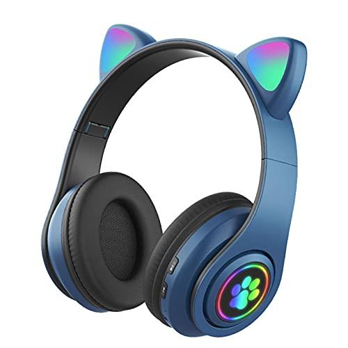 Fone de ouvido para jogos Fones de ouvido de gato - dente azul Fones de ouvido sem fio sobre a orelha de LED com microfone dobrável e leve Fones de ouvido infantis bonitos para todas as idades
