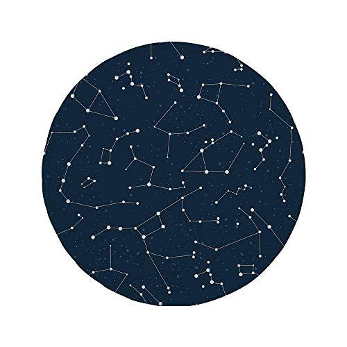 Rutschfreies Gummi-Rundmauspad Sternbild von der Milchstraße inspiriertes Muster mit einer Gruppe von Fixsternen am Nachthimmel Blau Dunkelblau Weiß 7.9
